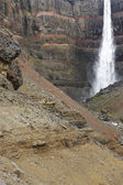Iceland. East fiords. Lagarfljot area. Hengifoss waterfall and b — Stockfoto