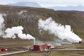Iceland. Krafla. Landscape with geothermical plant. — Stock Photo