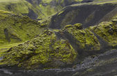 Iceland. South area. Fjallabak. Volcanic landscape. — Stock Photo