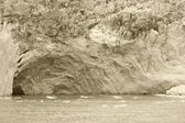 Patagonian landscape with lake, glacier and a cave. Sepia tone. — Zdjęcie stockowe