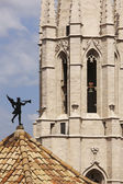 Spain. Catalonia. Girona. St. Feliu Church. Old weather vane and — Stock Photo