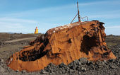 Iceland. Reykjanes Peninsula. Rusted vessel and volcanic ground. — Stok fotoğraf