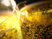 Champagne bubbles detail in a glasses — Stock Photo