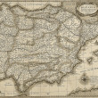 Постер, плакат: Antique Spain and Portugal map in sepia tone