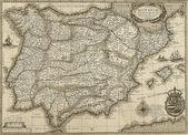 セピア色のトーンで旧式なスペインおよびポルトガルの地図 — ストック写真