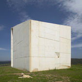 Concrete monolith. Landscape with dog. Ciudad Real. Spain. — Stock Photo