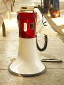 White and red speaker in the street — Stock Photo