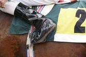 Jockey boot detail and race horse — Stok fotoğraf