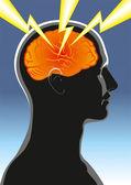 Mental health. Headache — Stock Vector