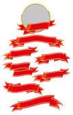 Red ribbon set — Stock Vector