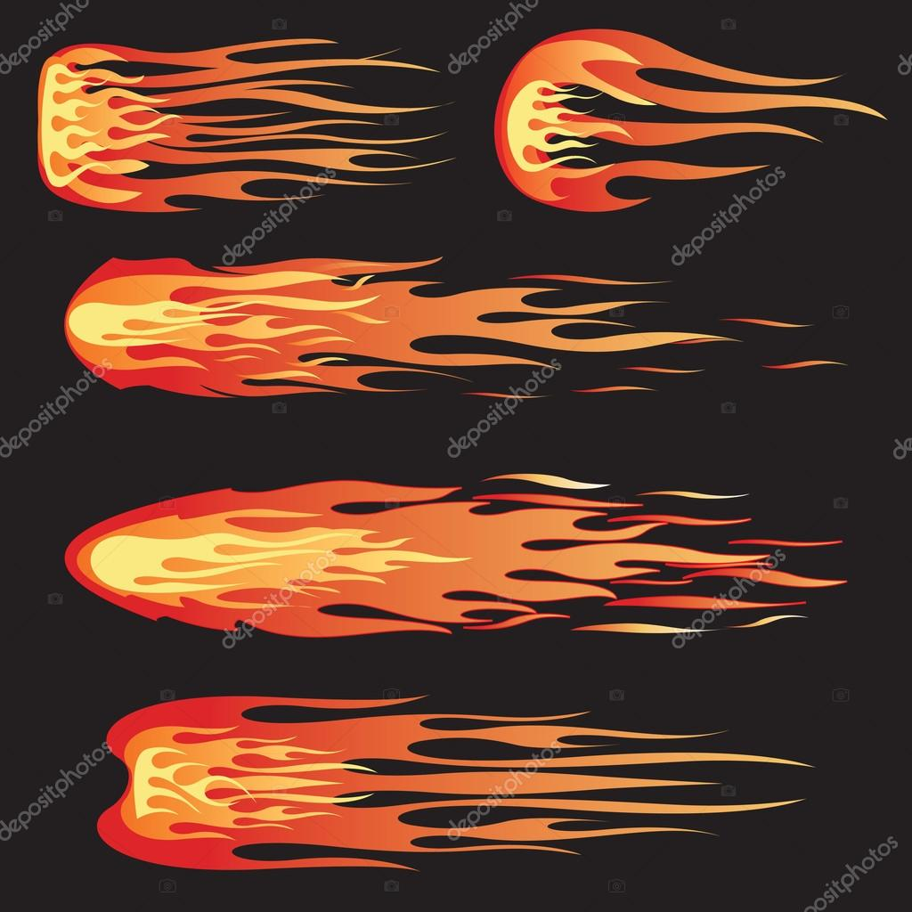 A set of five flames that can be used for design or decals — Stock Vector #18319421