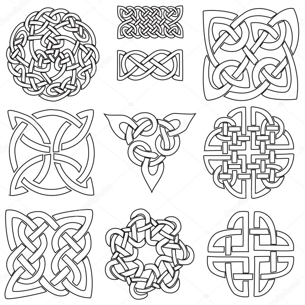 Pagan Symbols Drawings a Set of Ten Celtic Designs