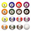 3d set of Pool balls — Stok fotoğraf