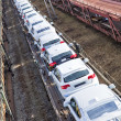 Cars on train waiting delivery — Stock Photo
