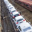 Cars on train waiting delivery - Stock Photo