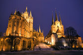 Erfurt Cathedral at night — Stock Photo