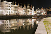 Canal in Ghent at night — Stock Photo