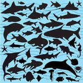 Fisch-silhouetten — Stockvektor