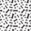 Постер, плакат: Dog bones and paws pattern