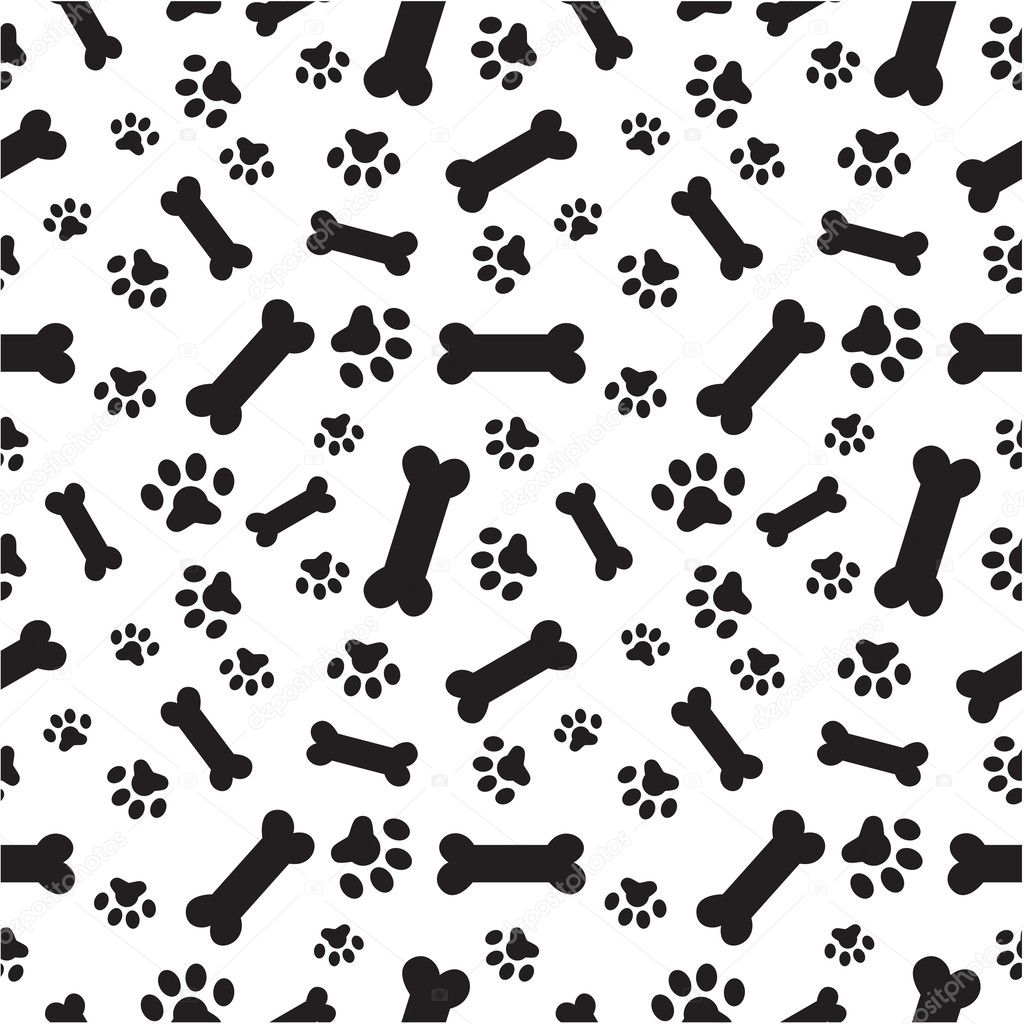 A random pattern of dogs paws Dog Bone Pattern Background
