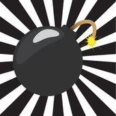 Cartoon bomb with sunburst — Vector de stock