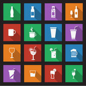 Set of sixteen drink icons — Stock Vector
