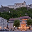 Salzburg hohensalzburg at dusk — Stock Photo