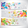 Banner floral and birds — Stock Vector