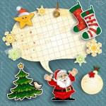 Santa claus cartoon ornaments and Christmas stockings — Stock Vector #17408717