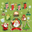 Santa Claus and labels on green background - Stock Vector