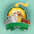 Nativity scene icon turquoise ground — 图库矢量图片