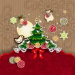 Christmas tree with birds and balls of paper - Stock Vector