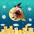 Befana moon in the city — Stock Vector