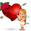 Cupid and heart and red roses — Stock Vector