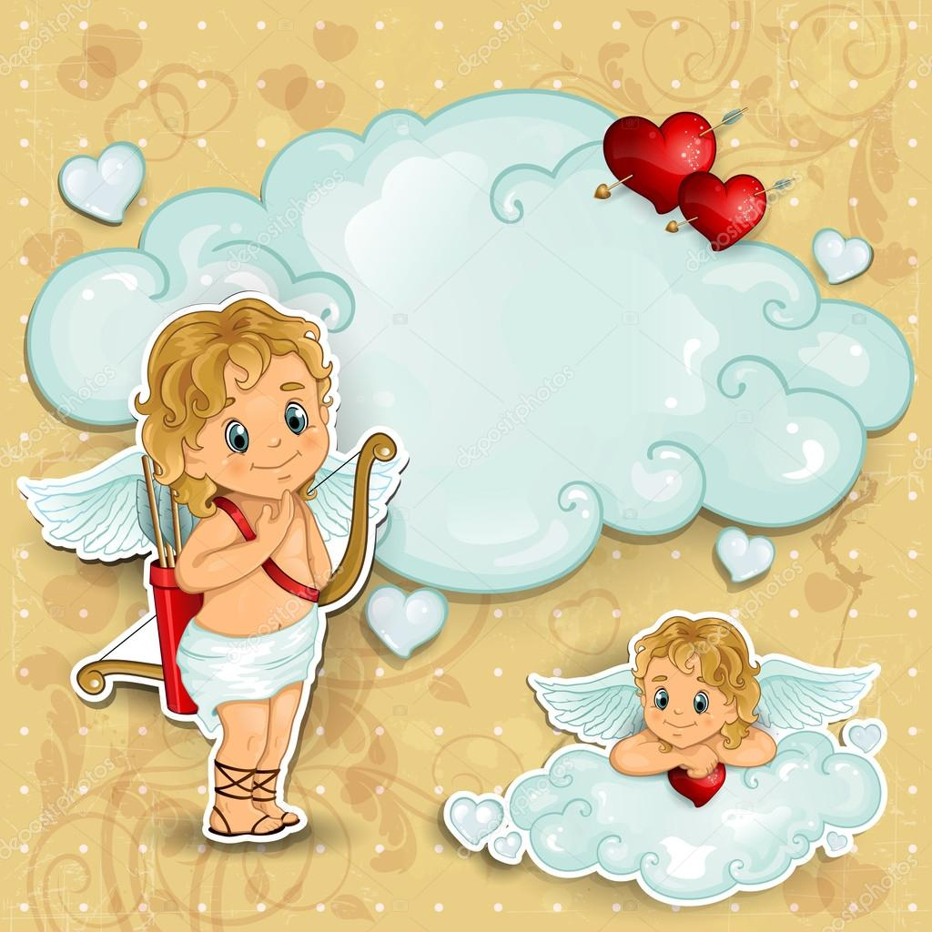 Cupid on clouds and red roses with background aged — Stock Vector #18588023