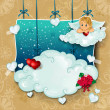 Cupid and clouds hung — Stock Vector
