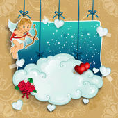 Cupid with bow and arrow clouds hung — Stock Vector