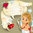 Cupid with cartoon paper - Imagens vectoriais em stock