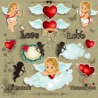 Stock Vector: Set hearts and cupid love