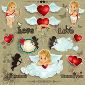 Set hearts and cupid love — Stock Vector