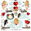 Set Cupid and love white background — Image vectorielle