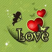 älska hjärtat och dekorationer vintage grön bakgrund — Stockvektor