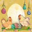 Hens with eggs and flowers - Grafika wektorowa