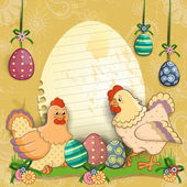 Hens with eggs and flowers — Stock Vector
