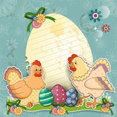 Hens with eggs background turchese — Stock Vector