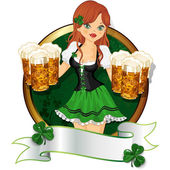 Girl with beer St. Patrick's Day — Stockvector