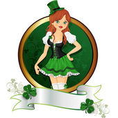Girl  St. Patrick' s Day — 图库矢量图片