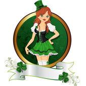 Girl St. Patrick' s Day — Stock Vector