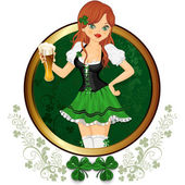 Girl with glass of beer feast of St. Patrick — Stock Vector