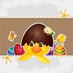 Cardboard chick — Stock Vector